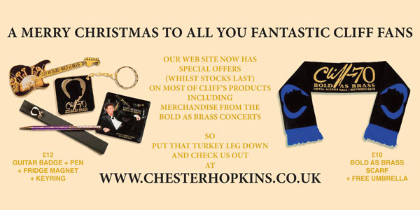 Special offers on Cliff's products from Chester Hopkins including merchandise from the Bold As Brass concerts! Badges, Pens, Fridge Magnets, Keyrings, Scarves, Umbrellas