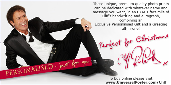 These unique premium quality photo prints can be dedicated with whatever name and message you want in an exact facsimilie of Cliff's handwriting and autograph combining an Exclusive Personalised Gift and a Greeting all in one.